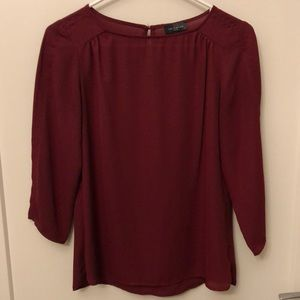 The Limited Maroon Three Quarter Sleeve Top XS